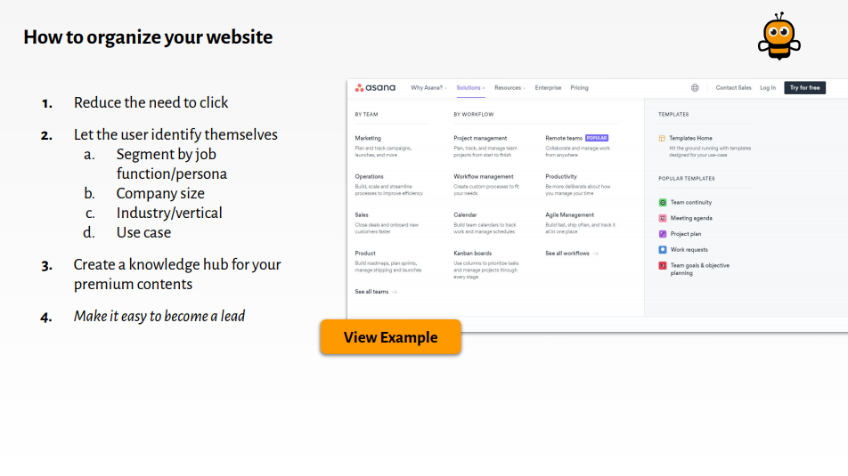 steps for organising your website